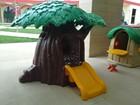 Enviromental design children plastic tree houses with slide on sale
