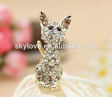 fashion cute rhinestone cat shape rhinestone dust plug dustproof plug wholesale