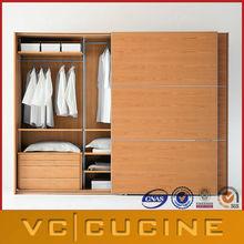 Wood veneer sliding door bedroom wardrobe