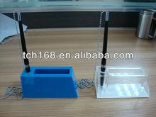 acrylic pen holder,desk pen with chain,handmade pen holder