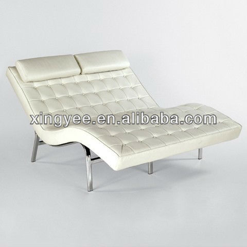 Modern indoor living room chromed stainless steel frame for 2 person chaise lounge indoor
