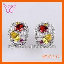 Jewelry Stone Alibaba Market Earrings Zircon,Fashion Zircon Earrings,Two Cubic Zircon And Pearl Earrings