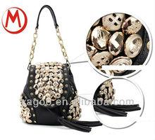 new design button accressary long strap chain handbag