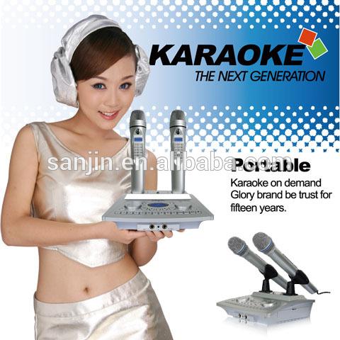 Microphone sans fil, soutien mini sd/hdd, système de karaoke( sans fil système de karaoké tout en un)