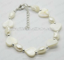 2012 Fashion Joya White Heart Pearl Shell Beaded Bracelet