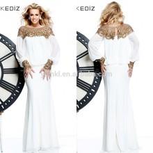 New Fashion A Line High Collar Three Quarter Sleeves Chiffon Design Kim Kardashian Evening Dresses From Dubai