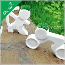 Little grass brinquedos cabeça grama boneca de cerâmica verde decoração do jardim do ietms