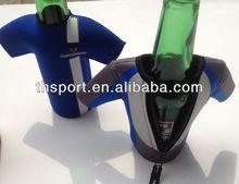 Promotional neoprene jacket beer bottle cover with zipper pull