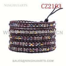 ribbon beaded lucite rhinestone bangle rivets watch leather New Product bracelet