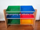 3 Tier Wooden Toys Storage Organizer with 6 Plastic Bins