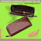 2014 Guangzhou factory crocodile wallet for women purses leather long zipper closure