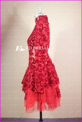 rs10 Real Sample Sexy Long Sleeve Velvet Short Dress Red Celebrity Dress
