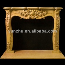 Delicate hand carving Egypt beige marble gas fireplace mantel
