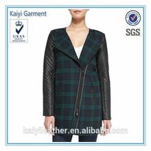 latest design women's leather wool winter coat