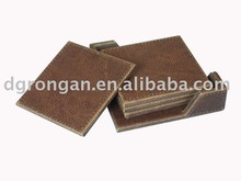 new product custom brand for faux leather square cup coaster A09-005