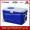 60L portable PU insulated cooler box, ice cooler box, ice chest, cooler box with wheels and open lid