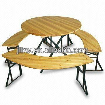 고품질의 원형 foldable 나무 테이블과 벤치 세트-접는 테이블 ...