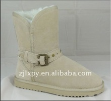 7019 - winter buckle boots in genuine leather sheepskin lined