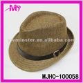 Venta al por mayor de moda de paja fedora ganster sombreros w/negro banda de cuero