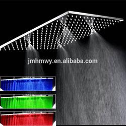 dual shower head led rainfall and mist shower head 304 stainless steel big rainfall mist dusal shower head led