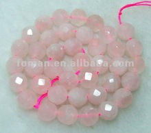 12mm round faceted rose quartz natural stone strand