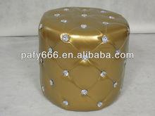 2014 hot sale PU round leather ottoman pouf with diamond