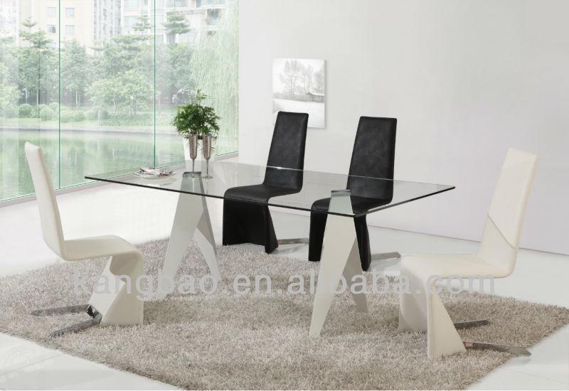 Moda cristal de la tapa del metal base de mesa de comedor - Mesas de marmol y cristal ...