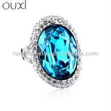 Big blue crystal finger ring designs made with Swarovski Elements