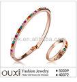 18 K oro de novia brazalete y anillo set de joyas por con cristales austriacos S-2066
