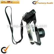 Black waterproof camera bag with lens