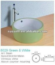 two color ceramic wash basin bathroom vanity