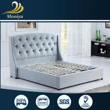 Modern blue plush fabric bed from moniya BD-02