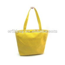 Personalized dots print lady cotton canvas tote bag with handles