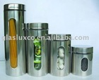 4Pcs Round Glass Canister Set w. Stainless Wrap