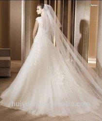 Free veil 2015 Hot High Quality Ivory A- line Cap Sleeve Wedding Dress