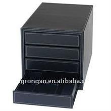 Jastek Faux Leather 4 Drawer Organiser - Black A4