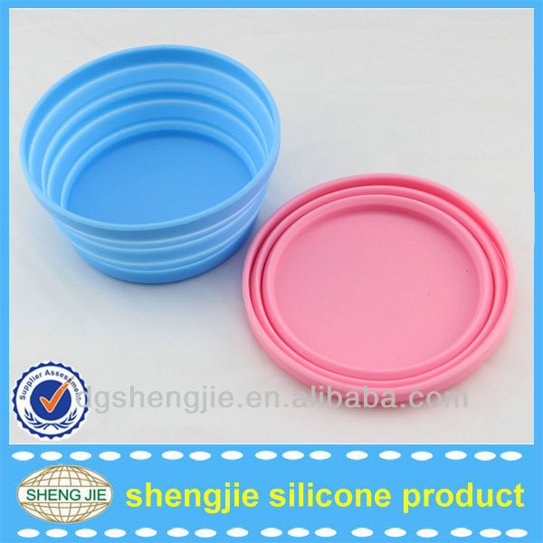 Portable unbreakable folding travel cat silicone dog bowl