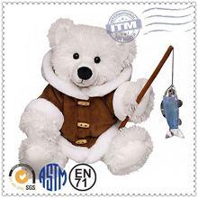 Factory Direct Sale New Design Plush Toy plush fishing bear toy