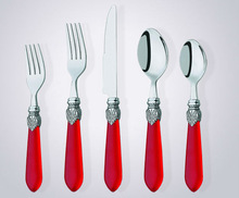 Small plastic handle stainless steel spoon fork and knive