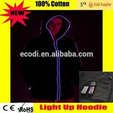 Eyecatching! Wholesale LED flash hoodie/EL wire hoodie/Light up hoodie