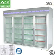 supermercado pantalla cámaras frigoríficas con puerta de vidrio para bebidas