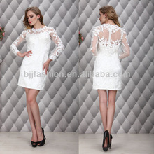 New Arrival Elegant Design Short Lace Appliqued White Long Sleeve Evening Dress