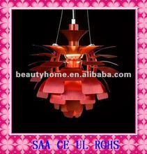 Red Modern Aluminum Lamp/Silver Artichoke Pendant Lamp/Silver Aluminum lighting C8201