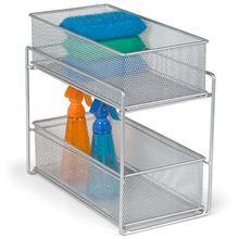 metal mesh sliding rack kitchen basket drawer organizer