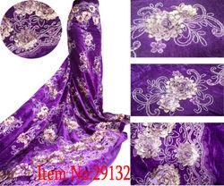 2015 high quality fashion african velvet lace fabric for Wedding Dress purple velvet fabric