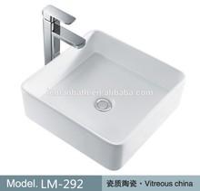 LM-292 New Design Sanitary Ware Bathroom Ceramic Sink Above Counter Wash Basin Square Art Basin