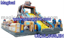 Giant fun inflatable amusement city with slide