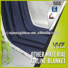 Polyester navy blue woven airline blanket with match color satin hemmed