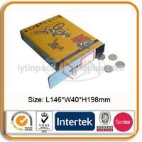 Tin money box with sliding lid