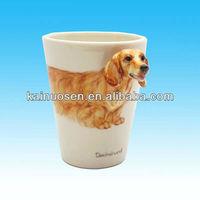 hotsale novelty 3D Dachshund dog handle ceramic mugs